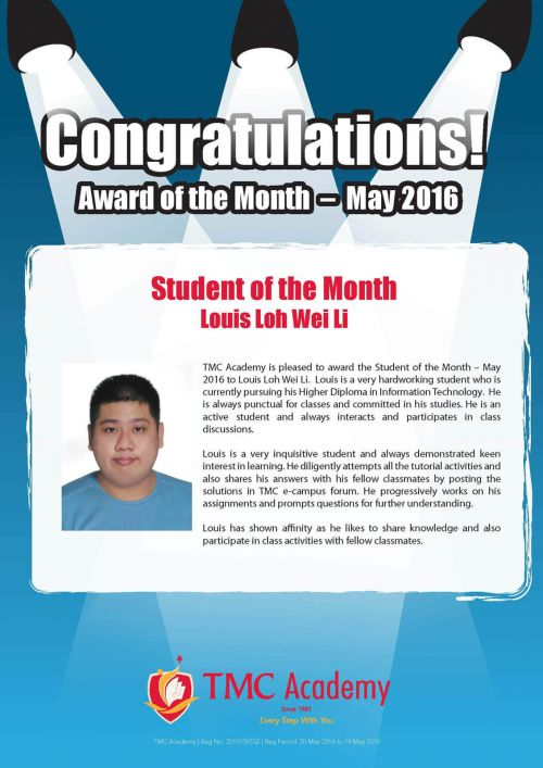 TMC Academy Award Student of the Month of May 2016