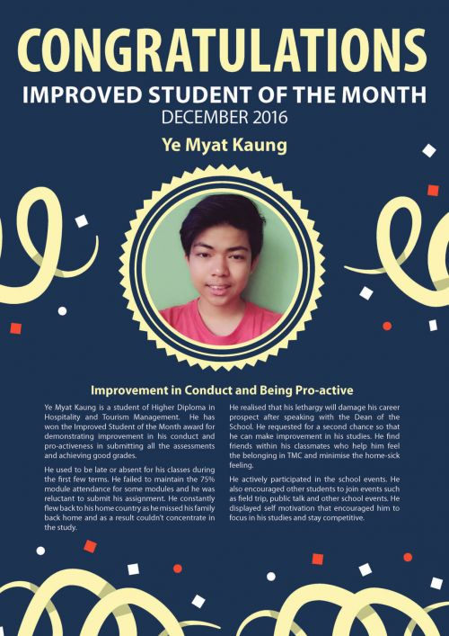 Ye MYat Kaung @ Improved Student of the Month of December 2016