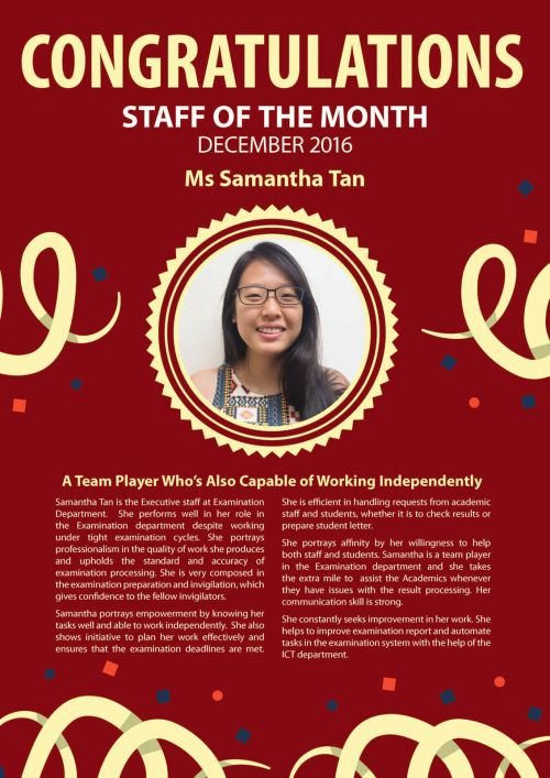 Ms. Samantha Tan @ Staff of the Month of December 2016