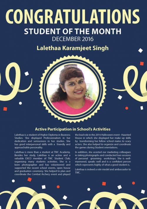 Ms. Lalethaa @ Student of the Month of December 2016