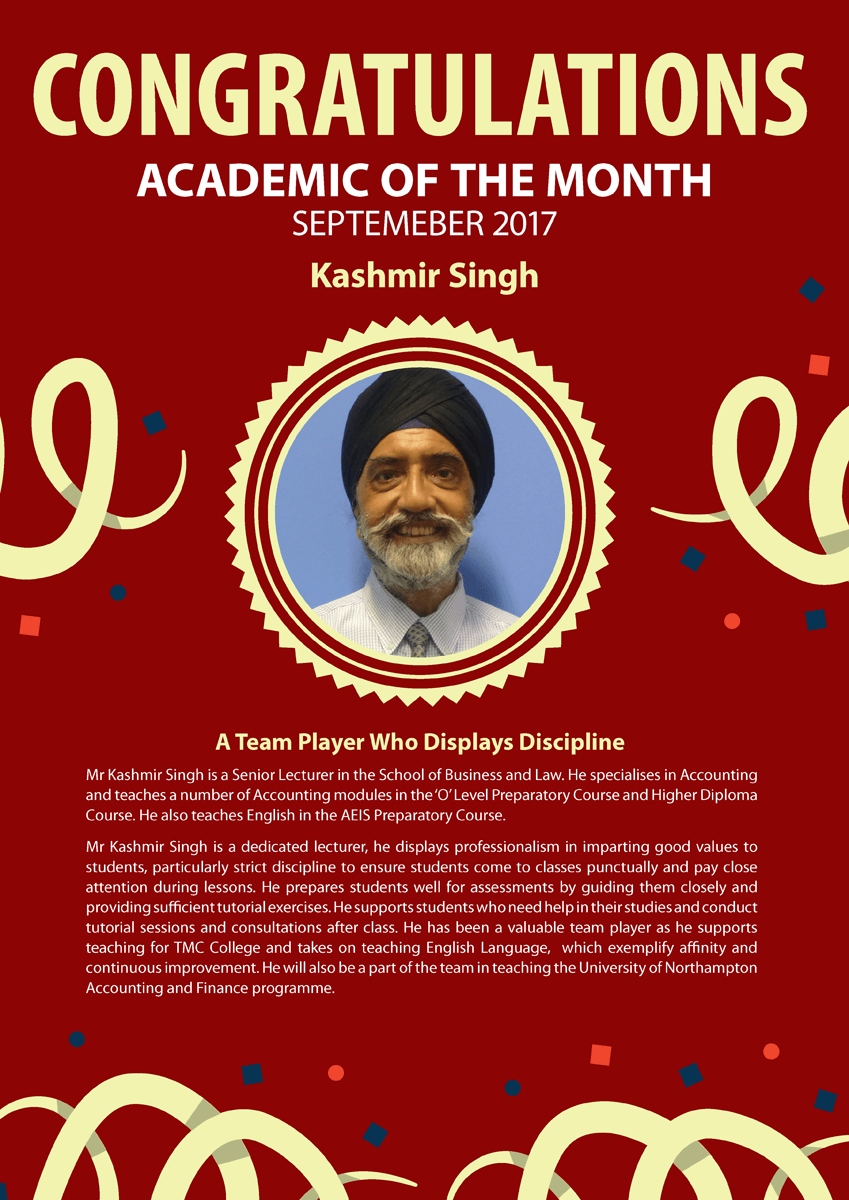 Kashmir Singh @ 2017 September Staff of the Month