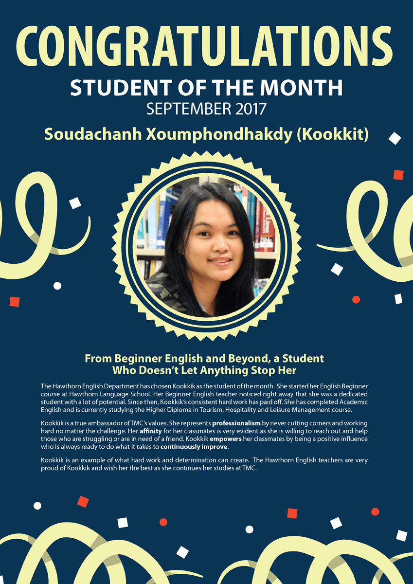 Kookkit @ September 2017 Student of the Month
