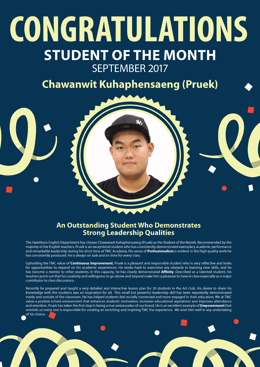Pruek @ September 2017 Student of the Month