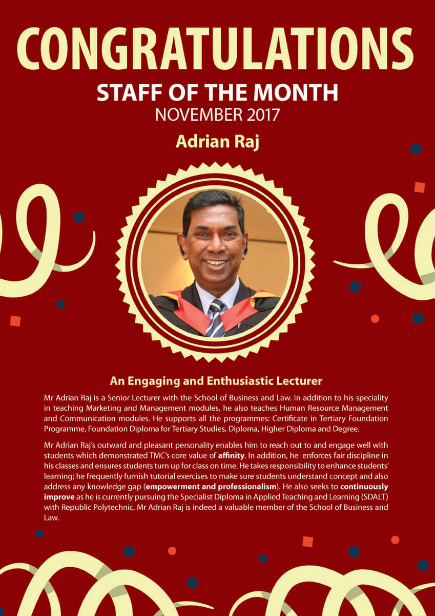 Adrian Raj @ Staff of The Month November 2017