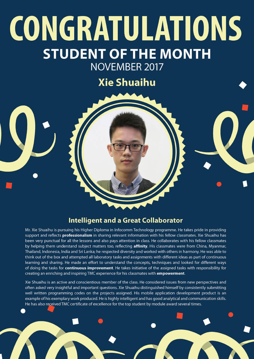 Xie Shuaihu @ Student of The Month November 2017