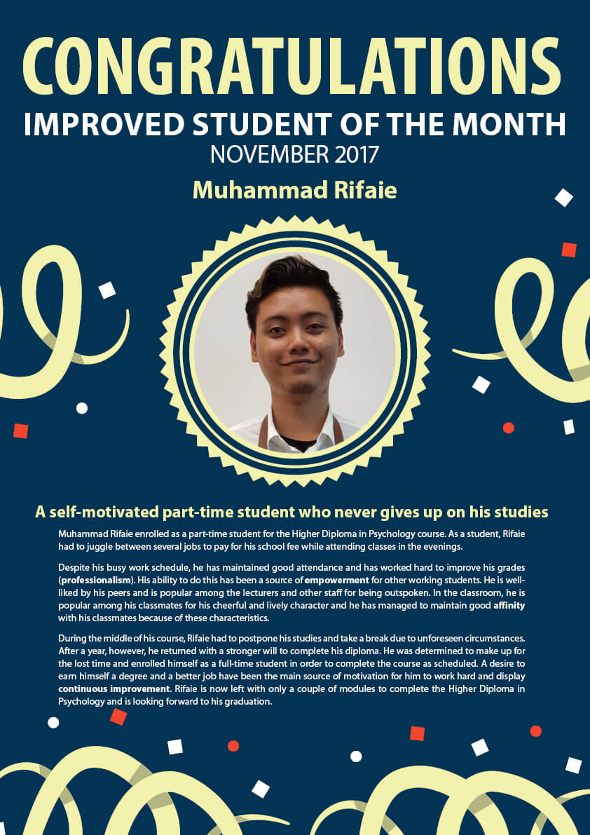 Muhammad Rifaie @ Improved Student of The Month November 2017