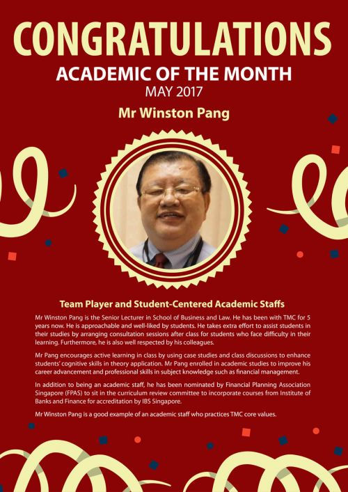 Mr Winston Pang @ TMC Academic of the Month May 2017