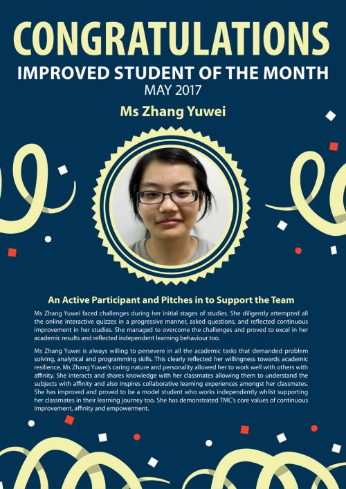 Ms Zhang Yuwei @ TMC Improved Student of the Month May 2017