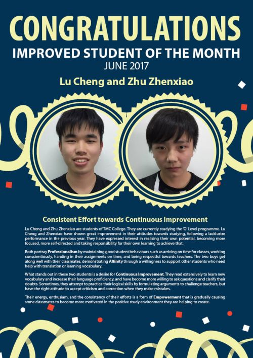 Lu Cheng & Zhu Zhen Xiao @ Improved Student of the Month June 2017