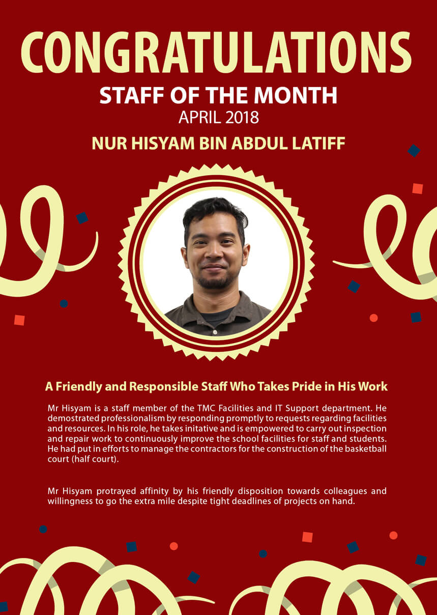 Mr. Hisyam @ TMC Staff of the Month April 2018