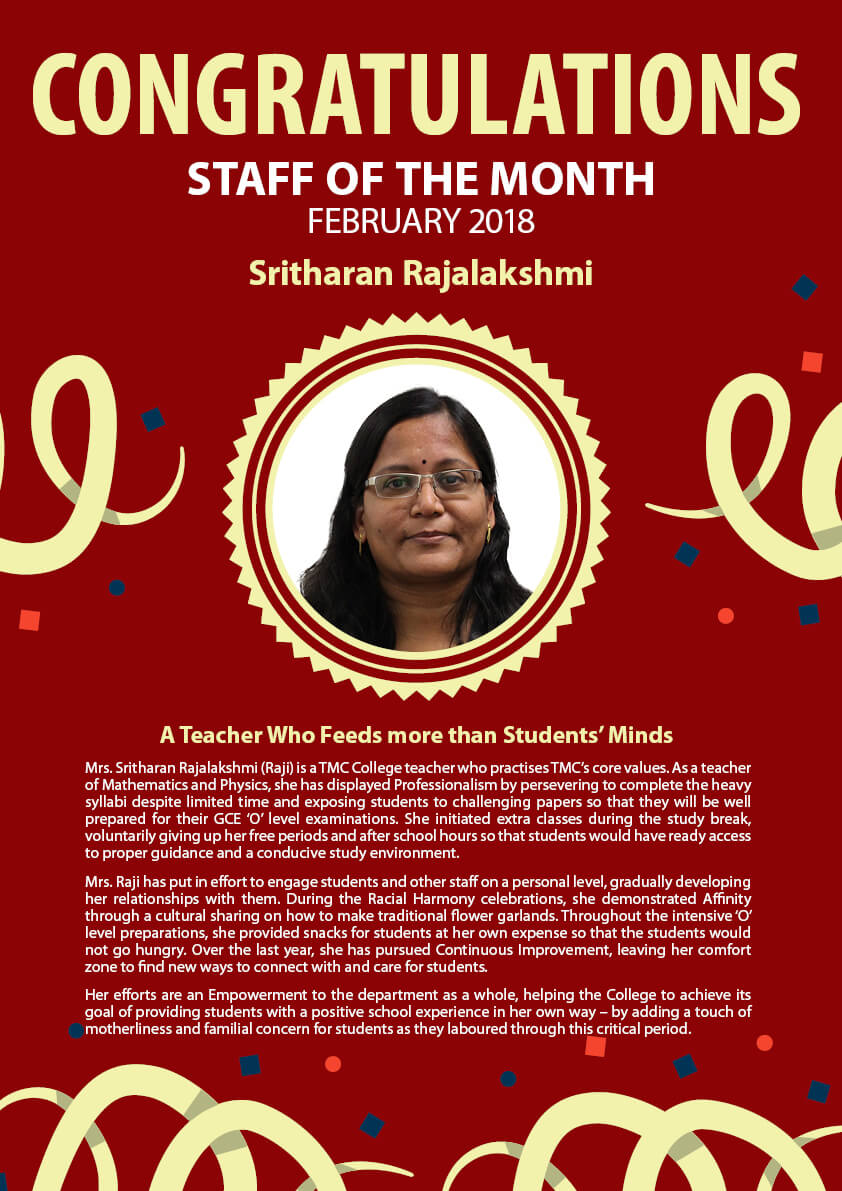Ms. Raji @ TMC Staff of the Month February 2018