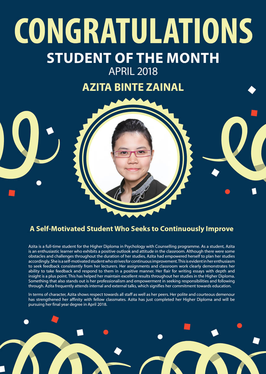 Ms. Azita @ TMC Student of the Month April 2018