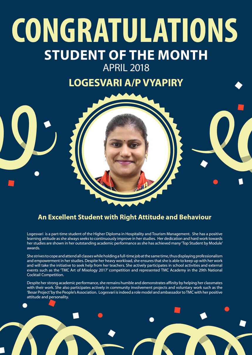 Ms. Logesvari @ TMC Student of the Month April 2018