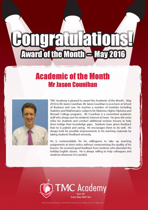 TMC Academy Award Academic of the Month of May 2016