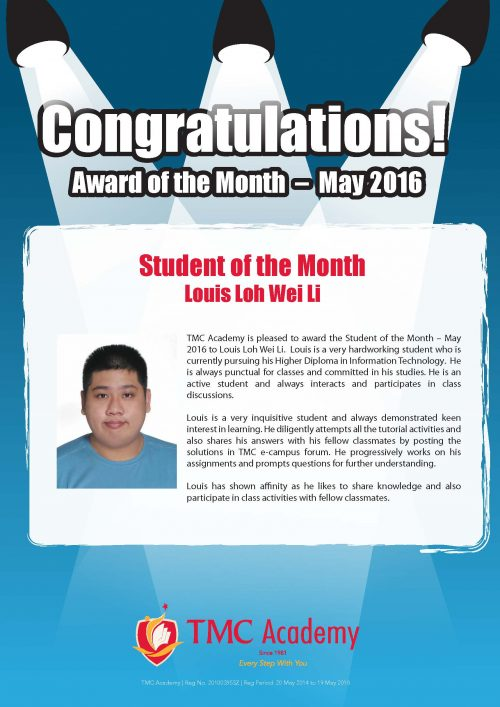 Louis Loh @ Student of the Month May 2016
