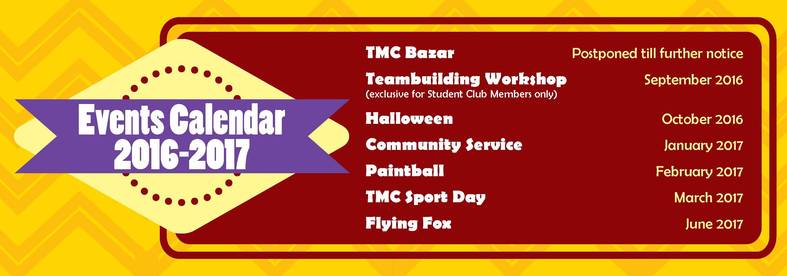 TMC Events Calendar 2016-2017