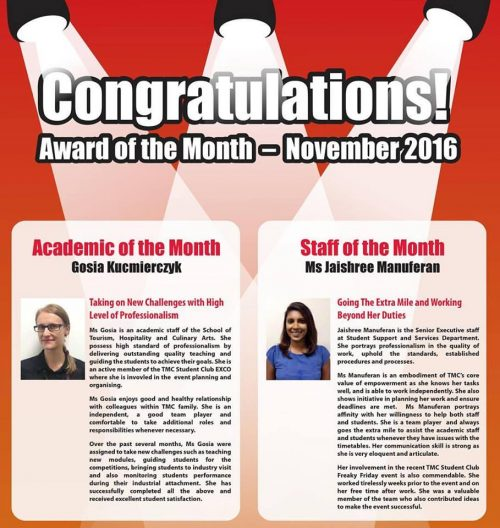 TMC Academy Award Academic of the Month of November 2016