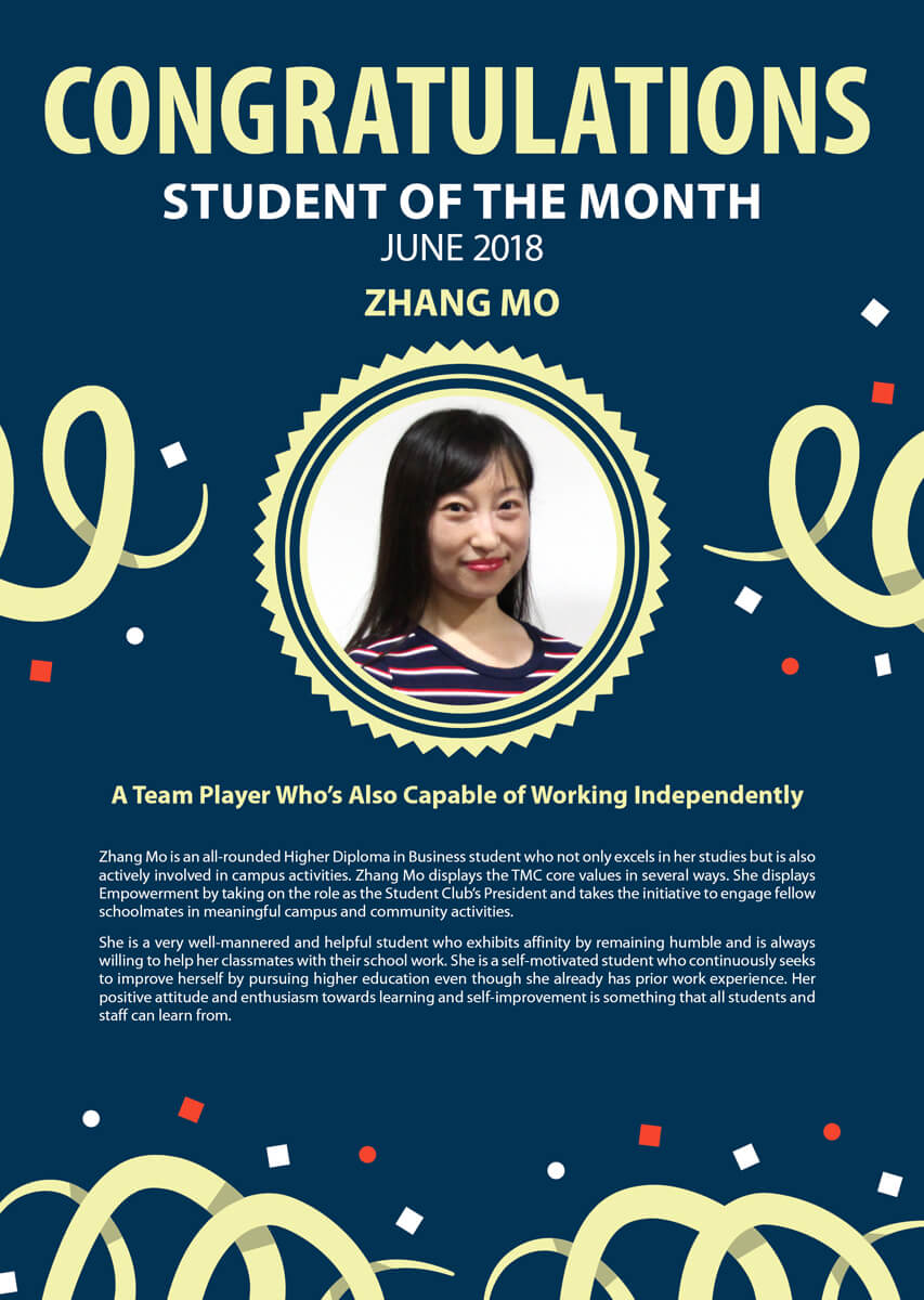 Zhang Mo @ TMC Student of the Month June 2018