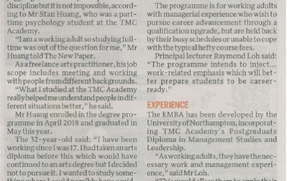 TMC Academy as featured in The New Paper