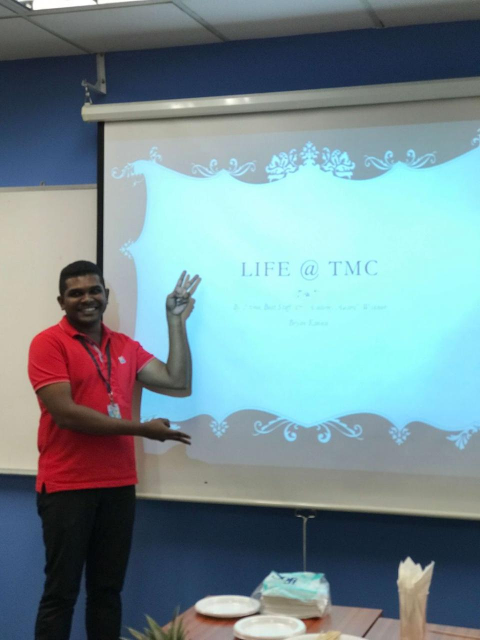 Mr Bryan, TMC's Facilities Manager, sharing thoughts on life in TMC